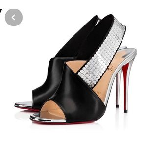 Christian Louboutin Xiline black/silver100mm heels